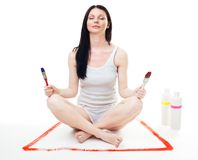 Woman relax after paint work Royalty Free Stock Image
