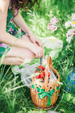 Woman relax on picnic in green park Stock Photo