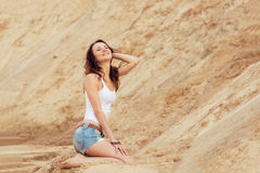 Woman relax summer on beach Royalty Free Stock Images