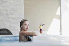Woman relax on swimming pool Stock Photography