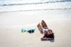 Woman relax on tropical beach vacation Royalty Free Stock Photography
