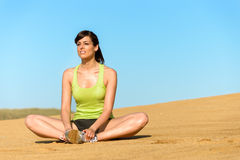 Woman relax and yoga exercise on summer Stock Photo