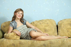 Woman relaxation in apartment Stock Photography