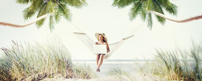 Woman Relaxation Beach Working Enjoyment Concept Stock Photography