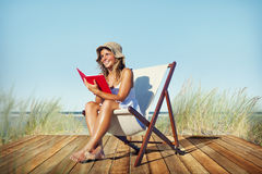 Woman Relaxation Reading Book Beach Concept Royalty Free Stock Photography