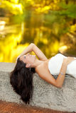 Woman relaxed in autumn golden forest river Royalty Free Stock Photos