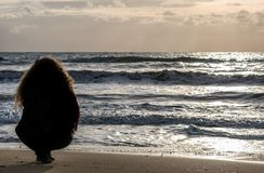 Woman relaxed at. the beach royalty free stock photography