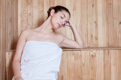 Woman relaxed inside the sauna Royalty Free Stock Photo