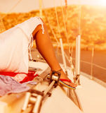 Woman relaxed on the yacht Royalty Free Stock Photography