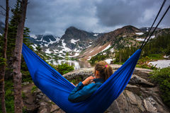 Woman relaxes on a hammock lake Isabelle Colorado Royalty Free Stock Photography