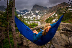Woman relaxes on a hammock lake Isabelle Colorado Stock Image