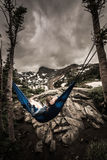 Woman relaxes on a hammock lake Isabelle Colorado Royalty Free Stock Photo