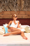 Woman relaxing in the afternoon Stock Images