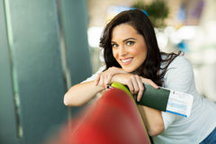 Woman relaxing airport Royalty Free Stock Photography