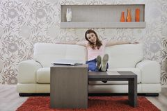 Woman Relaxing And Working At Home Royalty Free Stock Photos