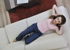 Woman Relaxing And Working On Laptop At Home Royalty Free Stock Image