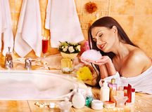 Free Woman Relaxing At Home Bath. Royalty Free Stock Photos - 34069478