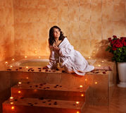 Woman relaxing in bath. Stock Photos