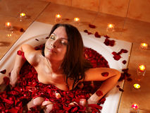 Woman relaxing in bath. Royalty Free Stock Images