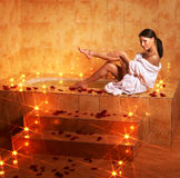 Woman relaxing in bath. Royalty Free Stock Photo