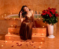 Woman relaxing in bath. Royalty Free Stock Photos