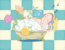 Woman relaxing in bath. On checkered floor with foam, petals and flowers by listening favourite music on music player with headphones royalty free illustration
