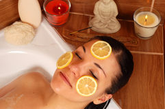 Woman relaxing in bath  Royalty Free Stock Image