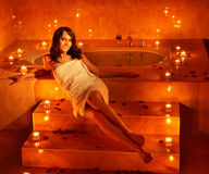 Woman relaxing in bath. Royalty Free Stock Photography