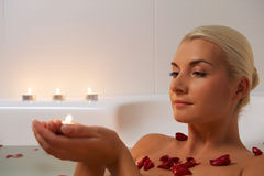 Woman relaxing in bathroom Royalty Free Stock Photo