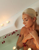 woman relaxing in bathroom Stock Photography