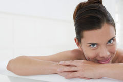 Woman Relaxing In Bathtub royalty free stock photo