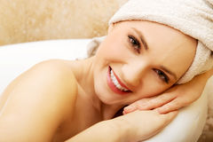 Woman relaxing bathtub. Royalty Free Stock Image