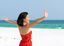 Woman Relaxing on a Beach stock photo
