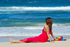 Woman relaxing on beach Royalty Free Stock Image