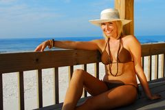 Woman Relaxing at beach royalty free stock images