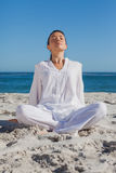 Woman relaxing at beach. Against ocean on a sunny day Royalty Free Stock Image