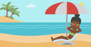 Woman relaxing on beach chair vector illustration. Stock Image
