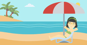 Woman relaxing on beach chair vector illustration. An asian woman sitting in a chaise longue on the beach. Woman sitting under umbrella on the beach. Woman royalty free illustration