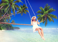 Woman Relaxing on the Beach Comfortable Concept Stock Image
