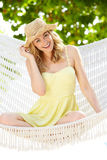 Woman Relaxing In Beach Hammock Stock Photography