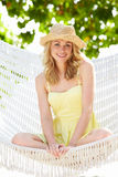Woman Relaxing In Beach Hammock Royalty Free Stock Images