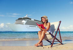 Woman relaxing beach Reading Book Concept Stock Photography