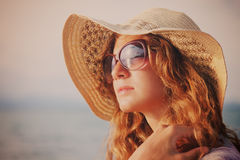 Woman relaxing at the beach. Summer vacations concept Royalty Free Stock Photography