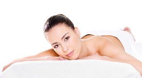 Woman relaxing beauty salon Royalty Free Stock Photos