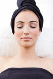 Woman relaxing at beauty spa Royalty Free Stock Photos