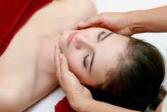 Woman relaxing in the beauty treatment,Facial massage Royalty Free Stock Photos