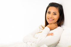 Woman relaxing bed Stock Photo