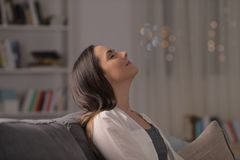 Free Woman Relaxing Breathing Fresh Air At Home Royalty Free Stock Photos - 155833218