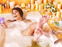 Woman relaxing at  bubble bath. Stock Images