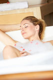 Woman Relaxing In Bubble Bath Royalty Free Stock Image